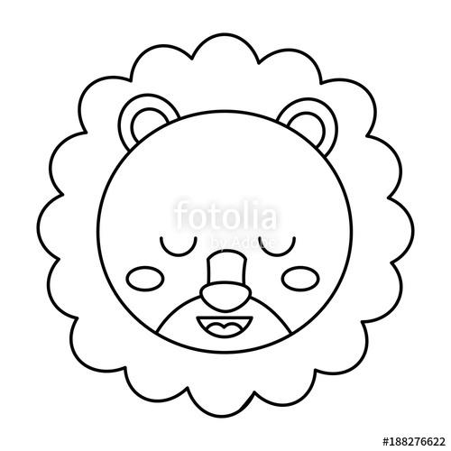 500x500 Cute Head Lion Animal Close Eyes Cartoon Vector Illustration