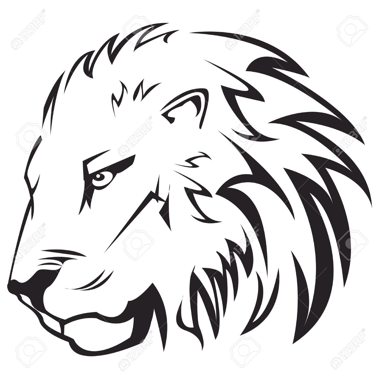 1300x1300 Lion Face Outline Drawing