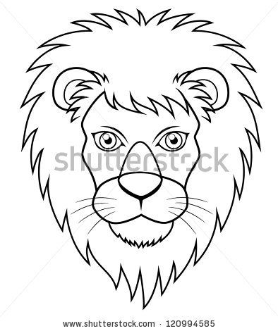 394x470 Illustration Of Lion Face Outline Drawing Monsters