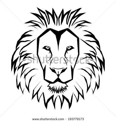 450x470 Of Lion Outline Drawing
