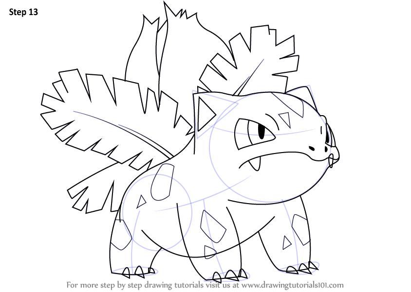 844x601 Learn How To Draw Ivysaur From Pokemon (Pokemon) Step By Step
