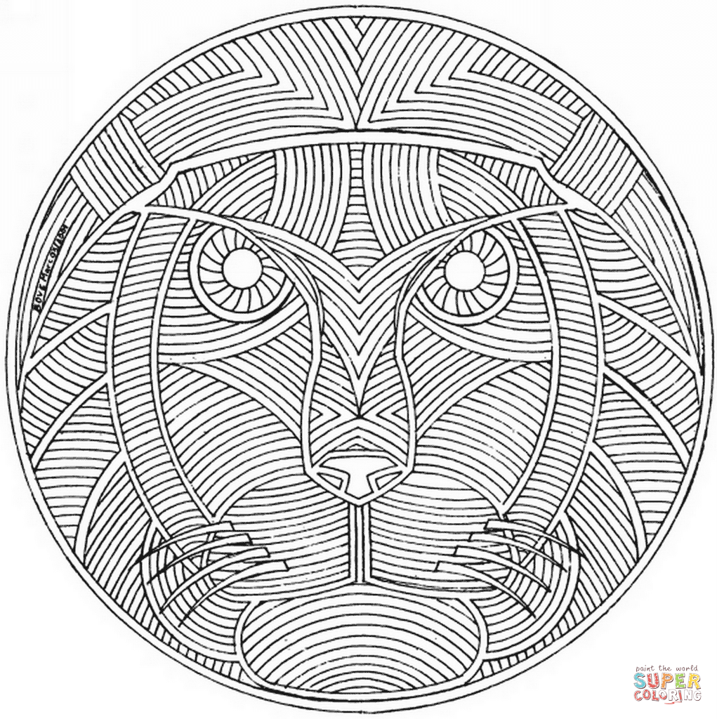 1021x1024 Celtic Mandala With Lion Face Coloring Page Free Printable