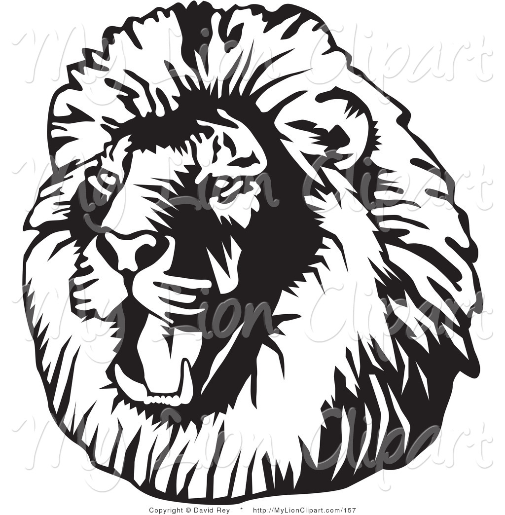 1024x1044 Clipart Of A Black And White Roaring Male Lion Head Looking Left