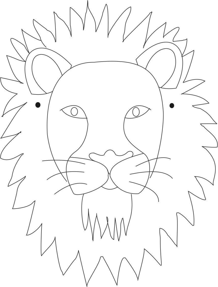 857x1127 Lion Face Coloring Pages