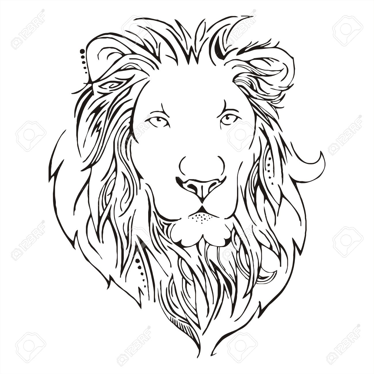 1300x1300 Lion Head Sketch Vector Royalty Free Cliparts, Vectors, And Stock