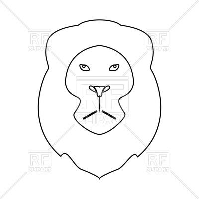 400x400 Lion Head Black Line Icon Royalty Free Vector Clip Art Image