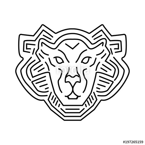 500x500 Lion Head Line Logo Design, Vector Pictogram Isolated On White