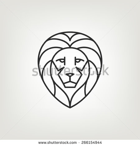 450x470 Lion Head Logo Icon Design In Mono Line Style. Dark On Light