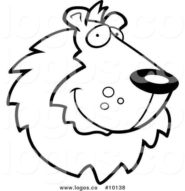 600x620 Royalty Free Vector Of A Black And White Lion Face Logo By Cory