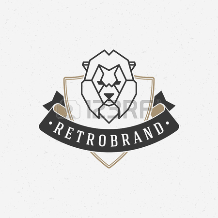 450x450 Vintage Lion Face Line Art Icon Emblem Symbol. Can Be Used