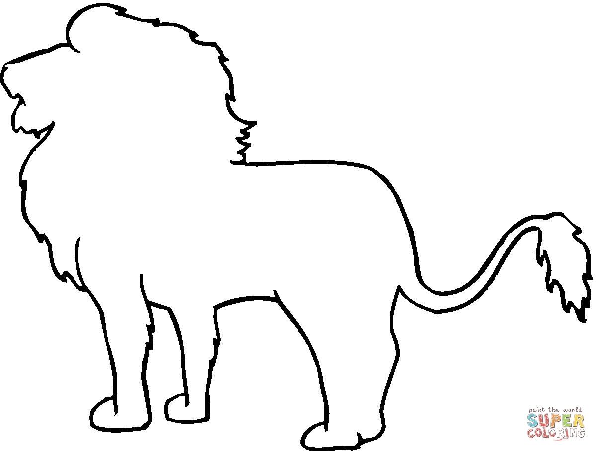 Lion Face Outline Drawing