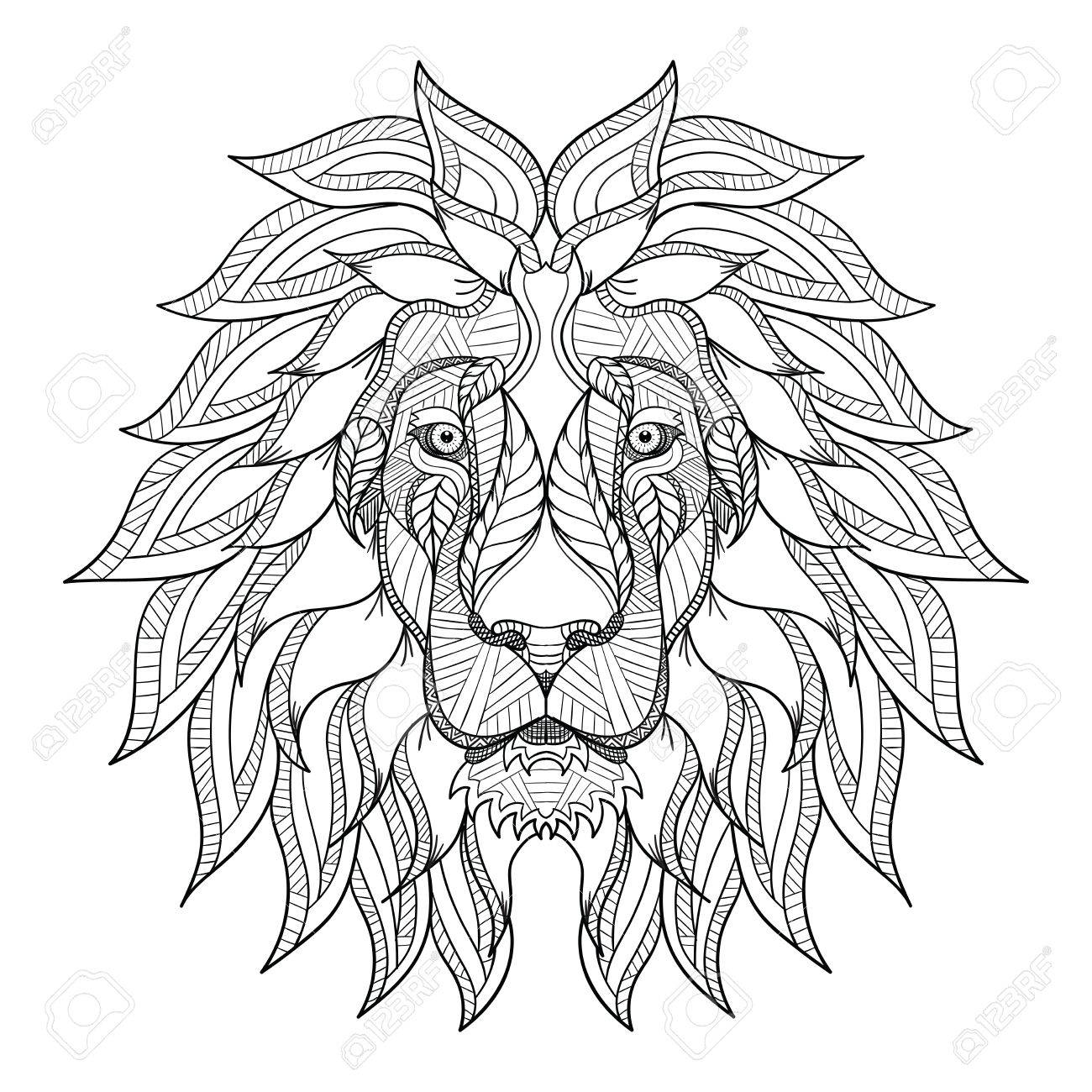 1300x1300 Lion Head Zentangle, Doodle Stylized, Vector, Illustration