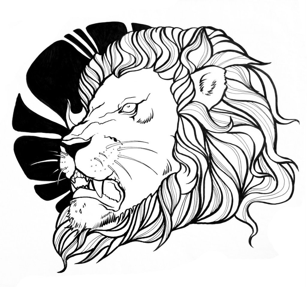 1024x958 Collection Of Outline Lion Head Tattoo