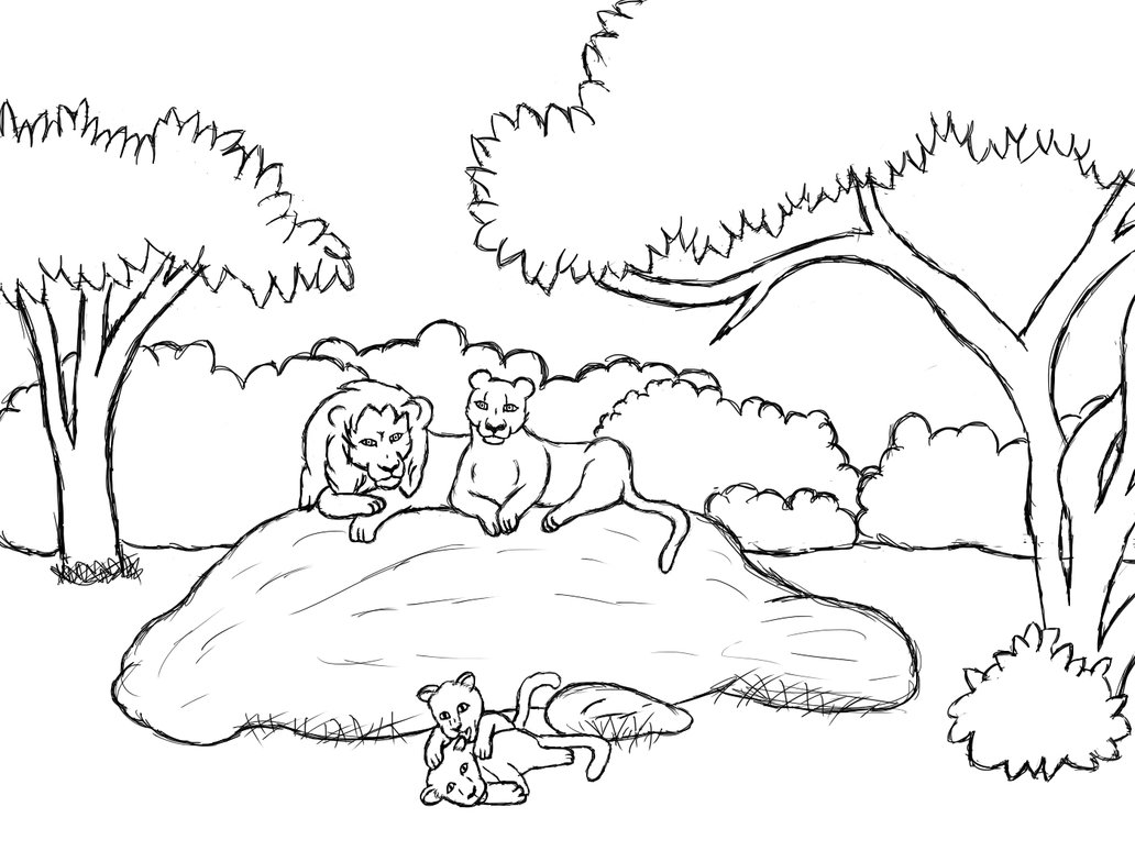 1032x774 Lion Family Uncolored By Neko Lisa
