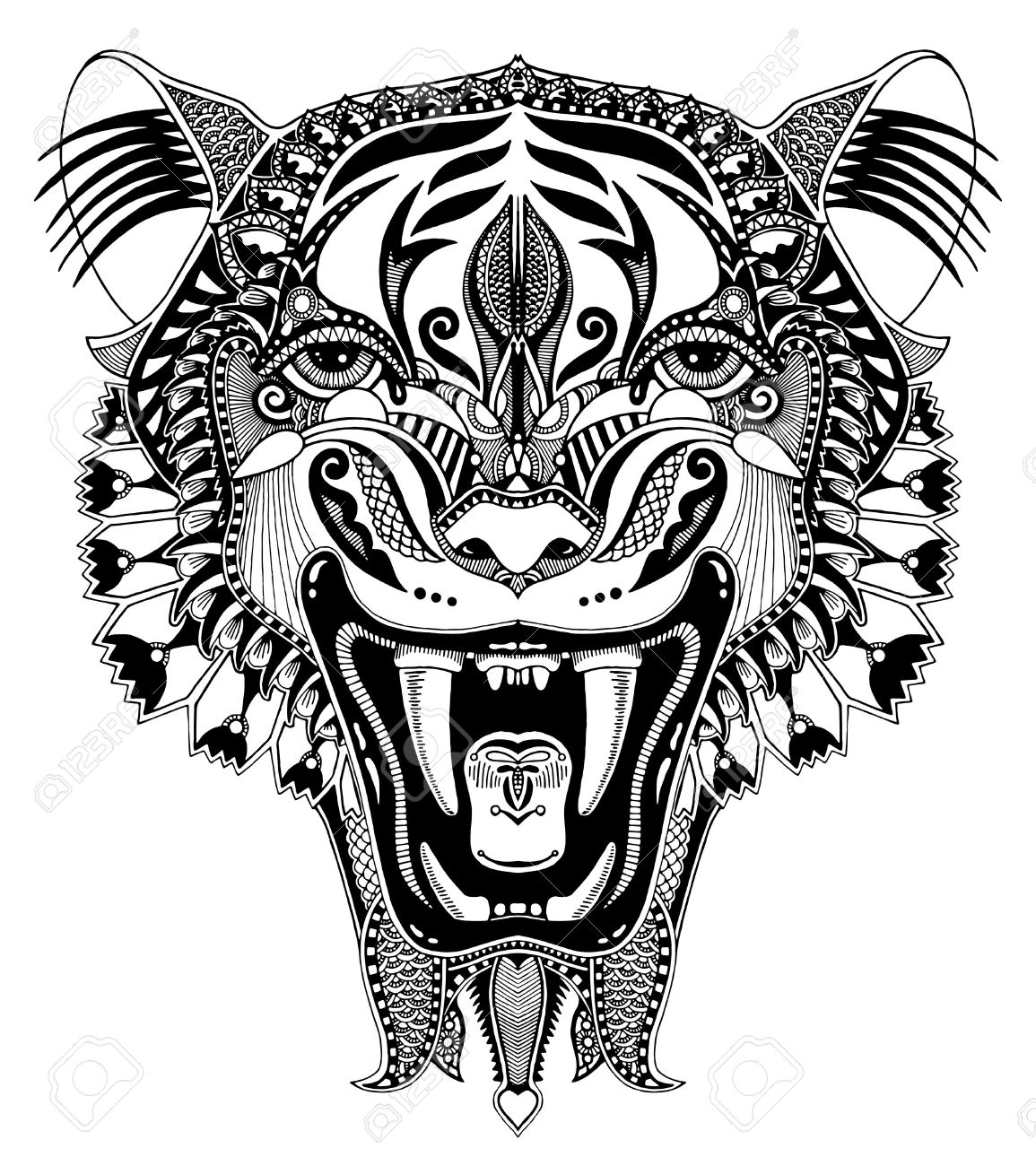 1155x1300 Original Black And White Head Tiger Drawing With The Opened Fall