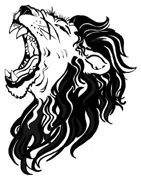 281x350 Roaring Lion Line Drawing