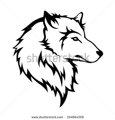 450x470 Wolf Growling Face Line Drawing