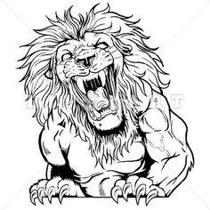 236x236 Aggressive Lion Clipart