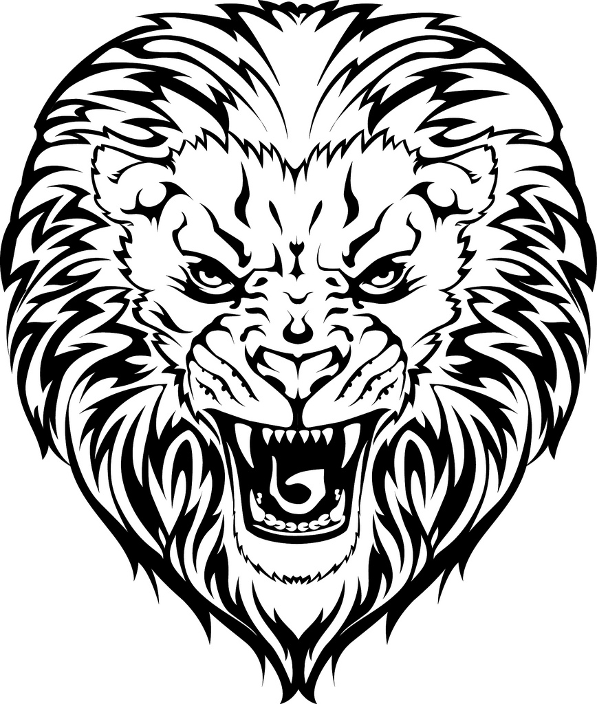 868x1024 Drawn Tiiger Angry Lion Face