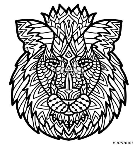 461x500 Hand Drawn Doodle Zentangle Lion Illustration. Decorative Ornate