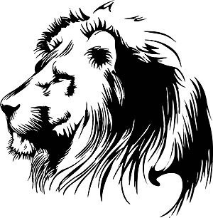 300x306 Simple Lion Head Clipart Black And White Letters Example