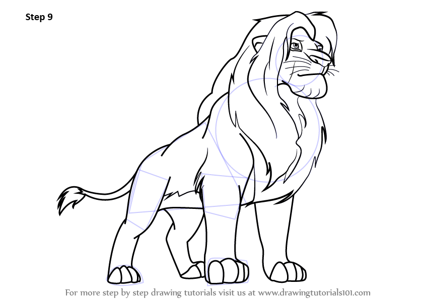 842x596 Learn How To Draw Simba From The Lion King (The Lion King) Step By