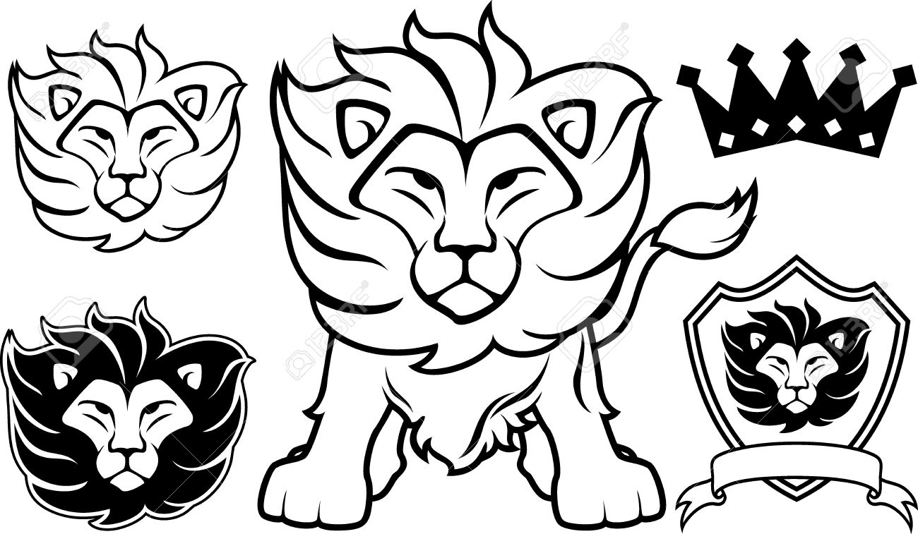 1300x757 Lion Head Designs Isolated On White Background, In Vector Format