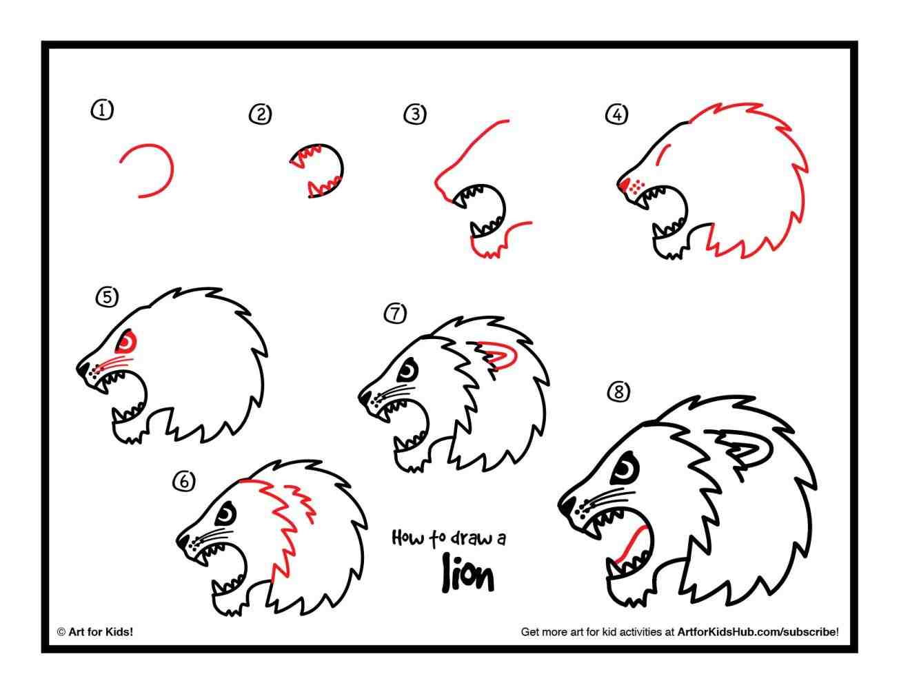 Lion Head Drawing Step By Step at GetDrawings.com | Free ...