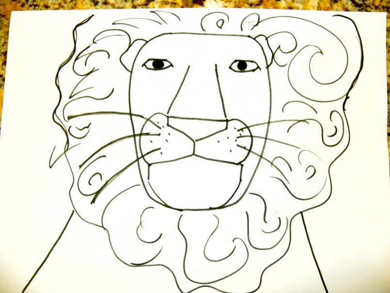 805x604 Coloring How To Draw A Lion Face Roaring Step By Step