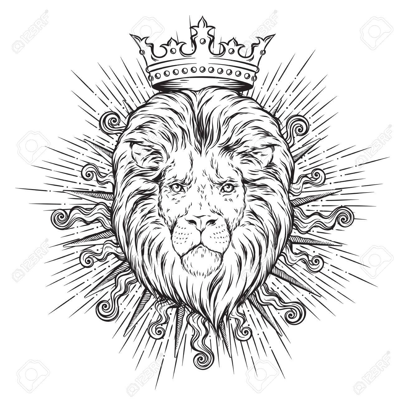 1300x1300 Hand Drawn Crowned Lion Head In Sun Rays Isolated Over White