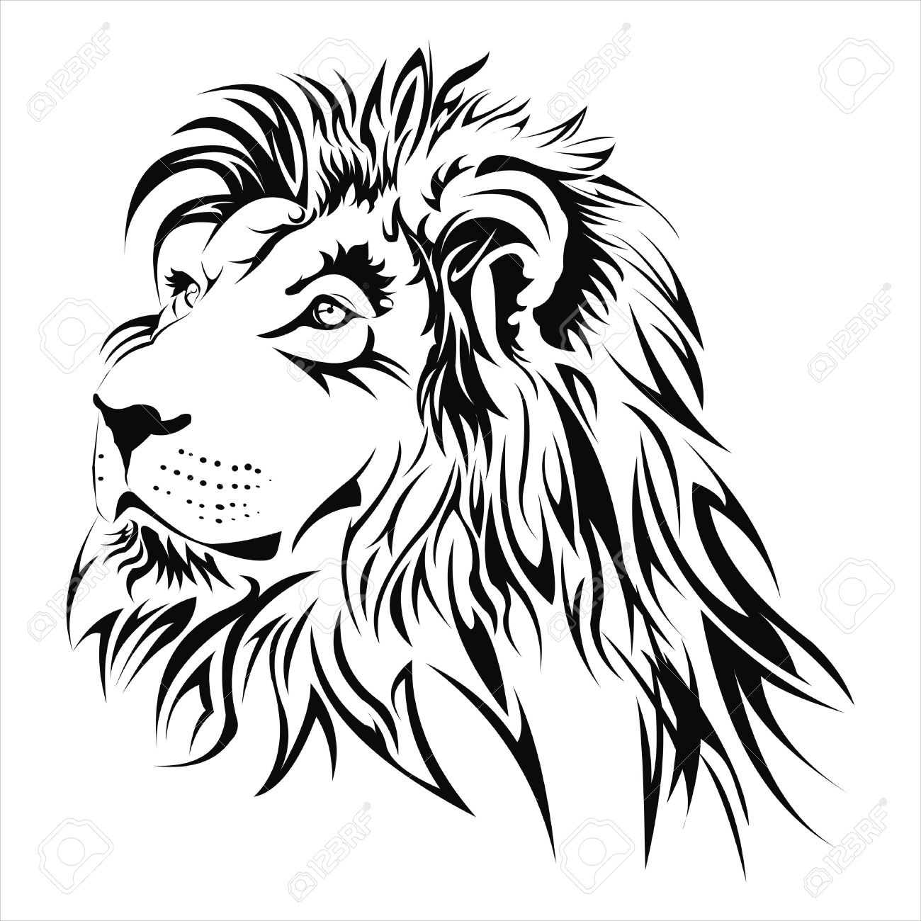 1300x1300 Lion Head Tattoo Royalty Free Cliparts, Vectors, And Stock