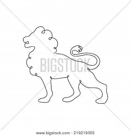 450x470 Lion One Line Drawing. Continuous Vector Amp Photo Bigstock