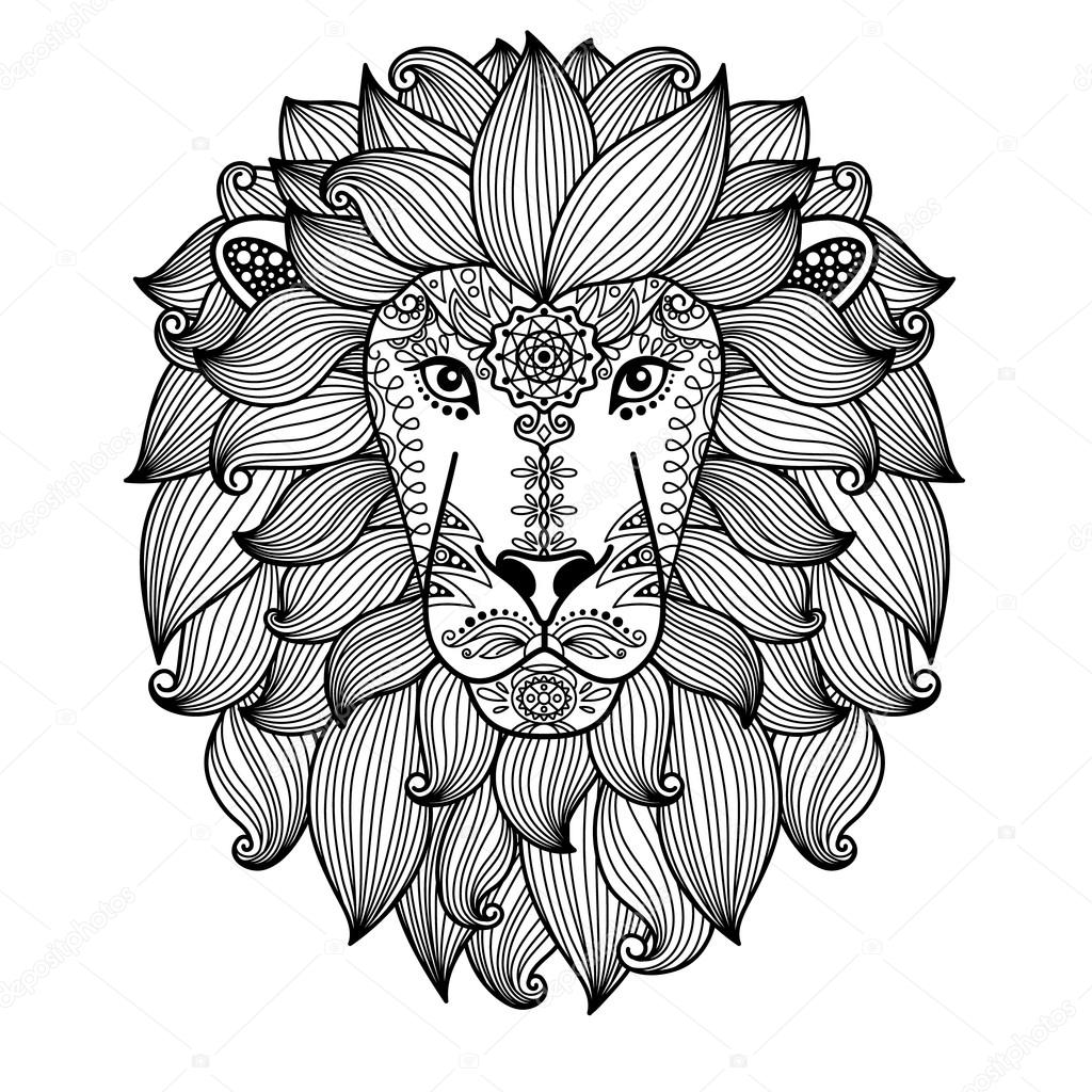 1024x1024 Lion Head With Ethnic Floral Pattern Stock Vector Ssstocker