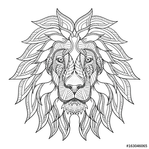 500x500 Lion Head Zentangle, Doodle Stylized, Vector, Illustration, Hand