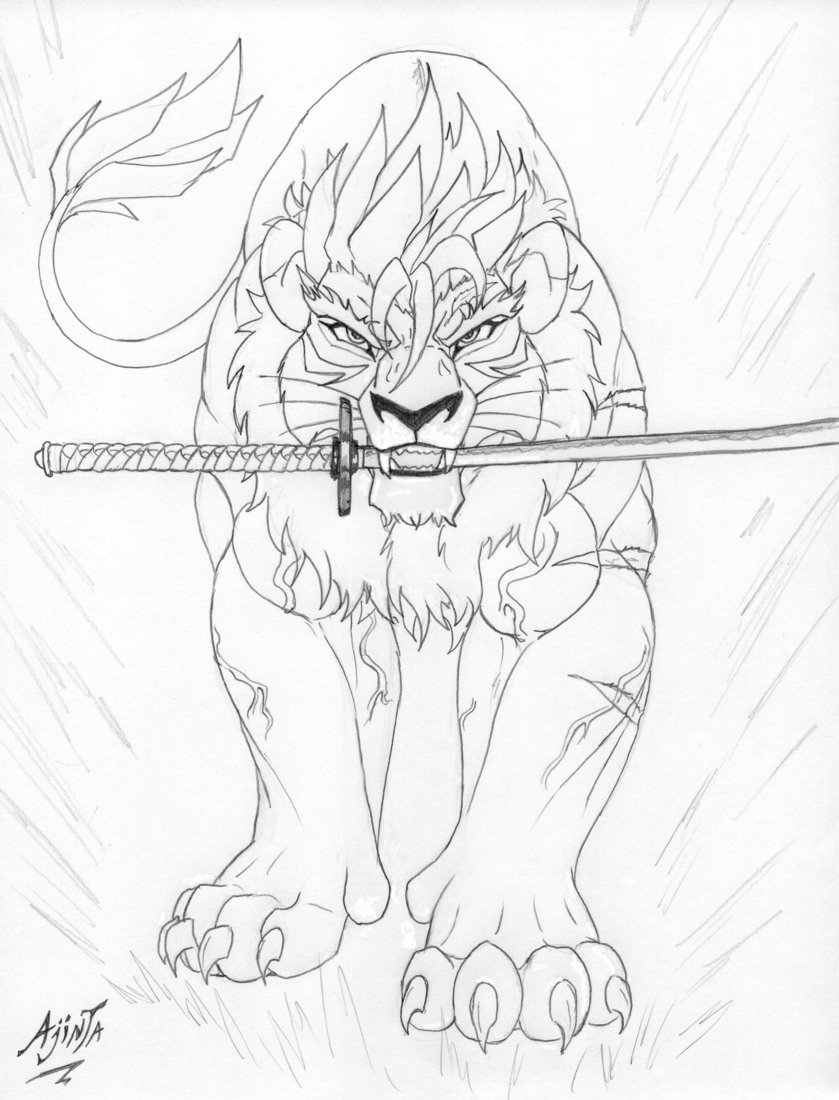 839x1100 Lion Line Drawing By Leovictor