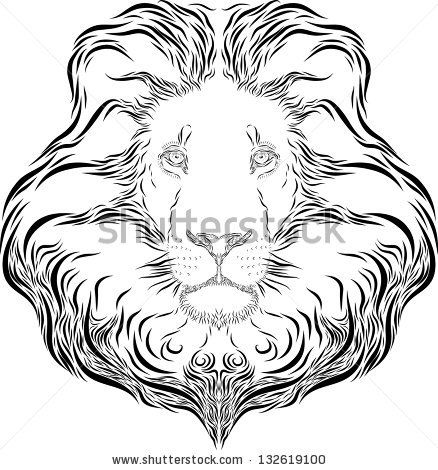 438x470 Collection Of Outline Lion Head Tattoo