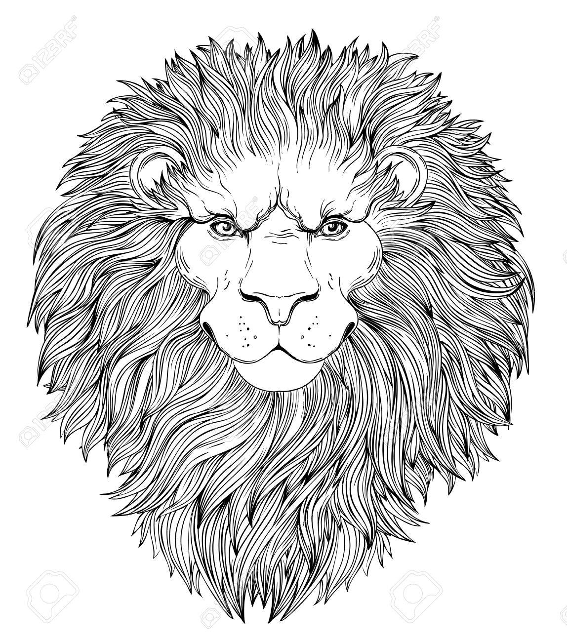 1148x1300 Decorative Illustration Of Heraldic Lion Head With Royal Crown