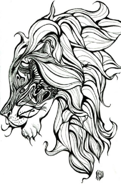 Lion Head Tattoo Drawing