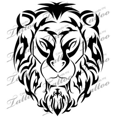 400x400 Collection Of Tribal Lion Head Tattoo Pack