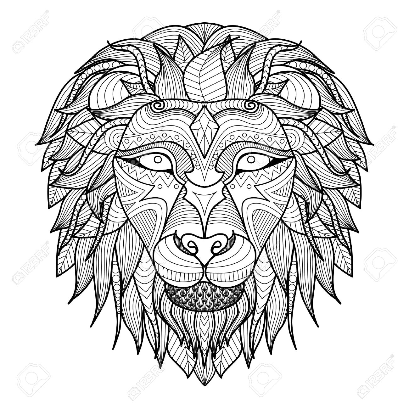1300x1300 Ethnic Patterned Head Of Lion On White Background African Indian