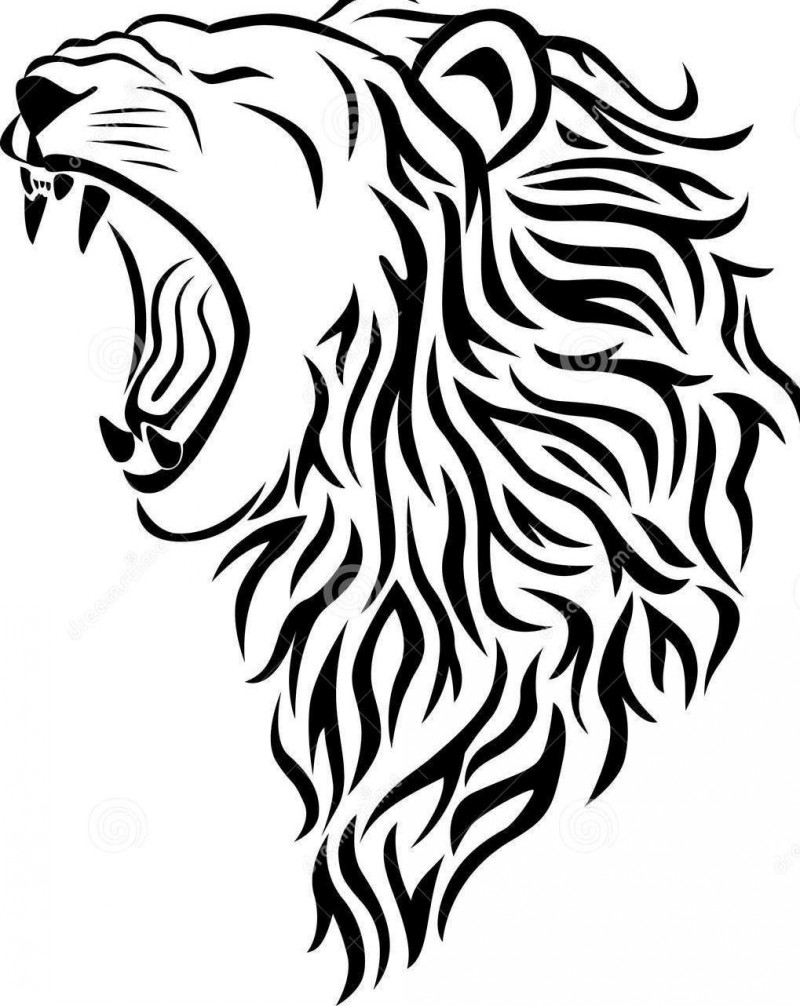 800x1006 Furious Roaring Lion's Head Black And White Tattoo