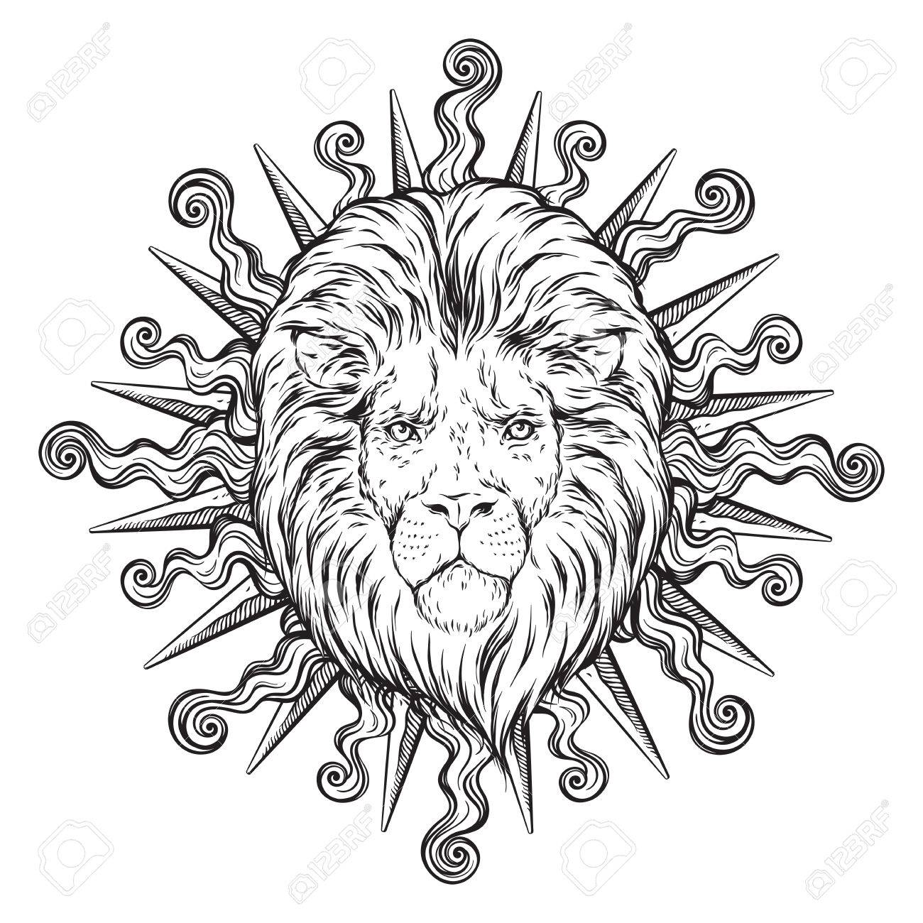 1300x1300 Hand Drawn Lion Head Isolated Vector Illustration. Flash Tattoo