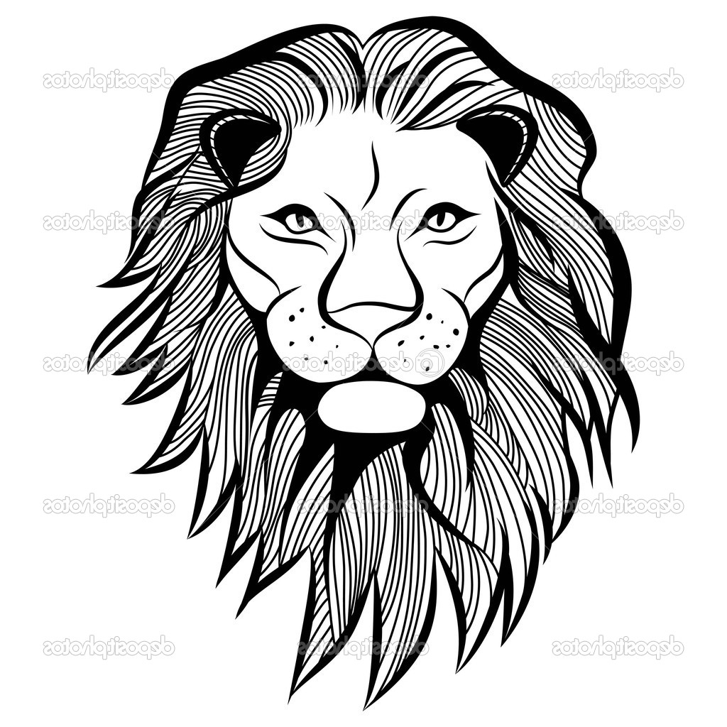1024x1024 Simple Lion Head Drawing Lion Head Vector Animal Illustration