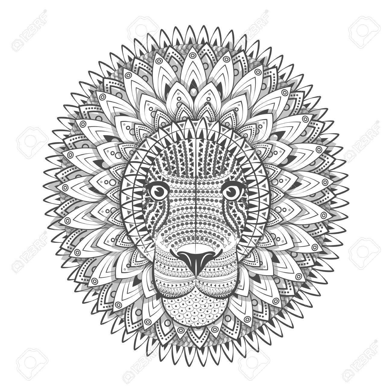 1300x1300 Zentangle Ornate Lion. Tattoo Sketch Vector Illustration. Doodle