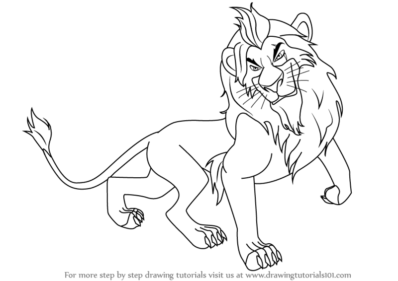 800x566 Learn How To Draw Scar From The Lion King (The Lion King) Step By