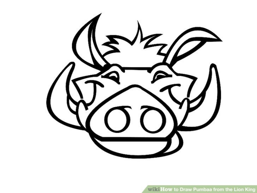1024x768 How To Draw Pumbaa From The Lion King (With Pictures) Wikihow