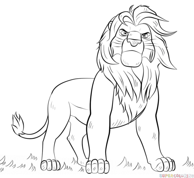 628x575 How To Draw Simba From Lion King Step By Step. Drawing Tutorials