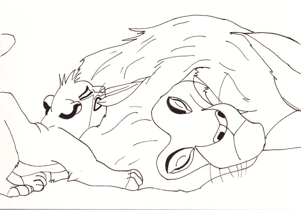 1024x716 Simba And Mufasa Sketchline
