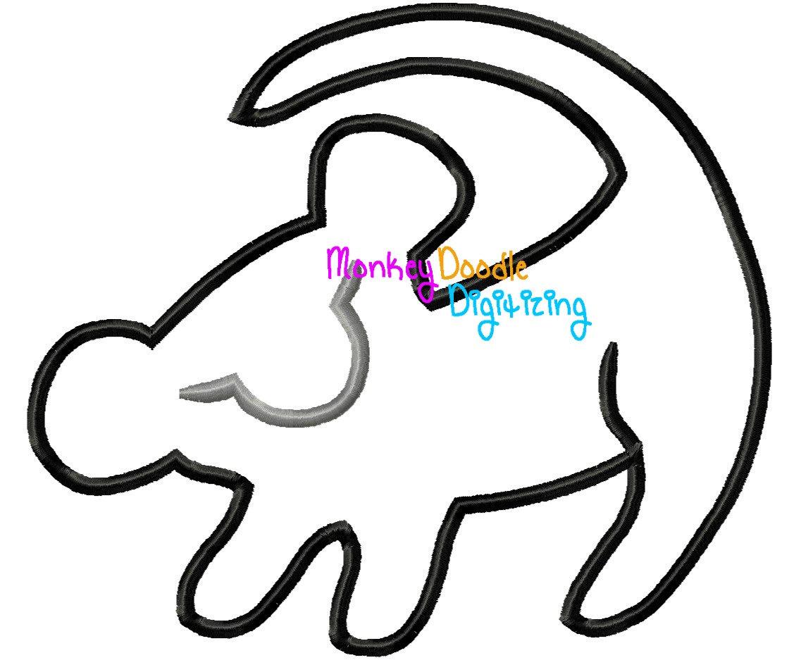 1137x937 Simba Silhouette Lion King Embroidery Machine Applique