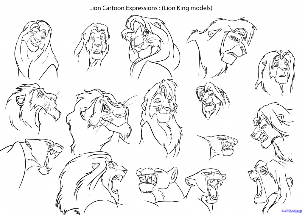1024x723 Lion Cartoon Drawing How To Draw Cartoon Lions Step Step Cartoon